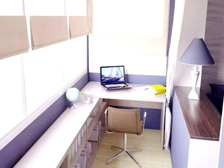 Кабинет на лоджии или балконе. дизайн рабочего кабинета..