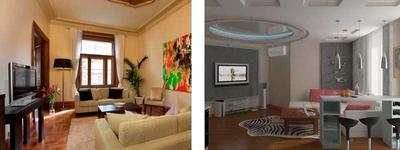 Варианты дизайна зала в двухкомнатной квартире